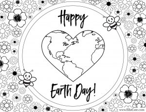 Free Earth day coloring page for kids